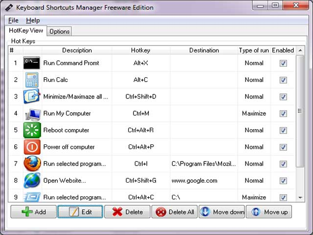 Keyboard Shortcuts Manager screenshot